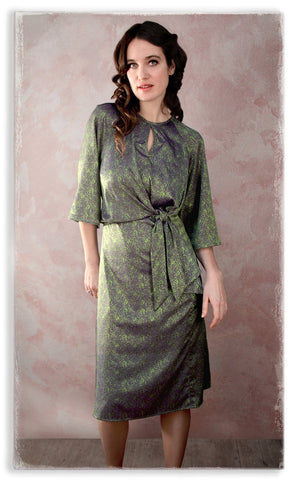 Nancy Mac Dolce knot dress in peridot green jacquard