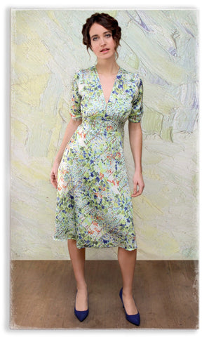 Nancy Mac Mae dress in floral Painters Garden print crepe