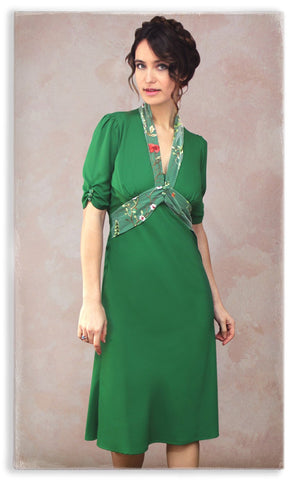 Nancy Mac Sable dress in Montecarlo green moss crepe with lace trim