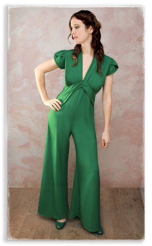 Nancy Mac Sable jumpsuit in Montecarlo green moss crepe