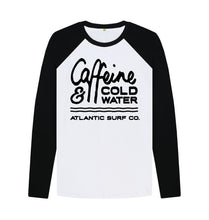Load image into Gallery viewer, Black-White 'Caffeine & Coldwater' Long Sleeved Raglan