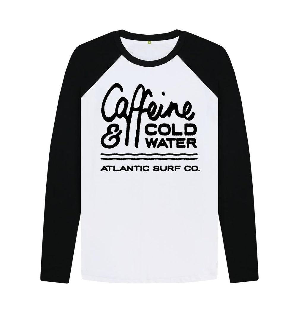 Black-White 'Caffeine & Coldwater' Long Sleeved Raglan