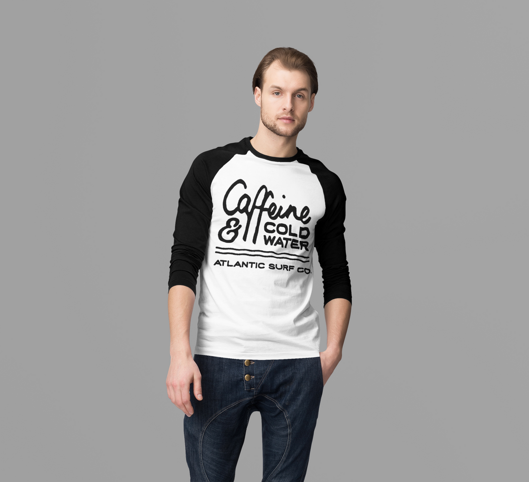 'Caffeine & Coldwater' Guys Long Sleeved Raglan