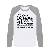 Load image into Gallery viewer, Athletic Grey-White 'Caffeine & Coldwater' Long Sleeved Raglan