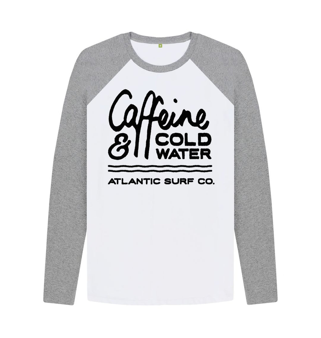 Athletic Grey-White 'Caffeine & Coldwater' Long Sleeved Raglan