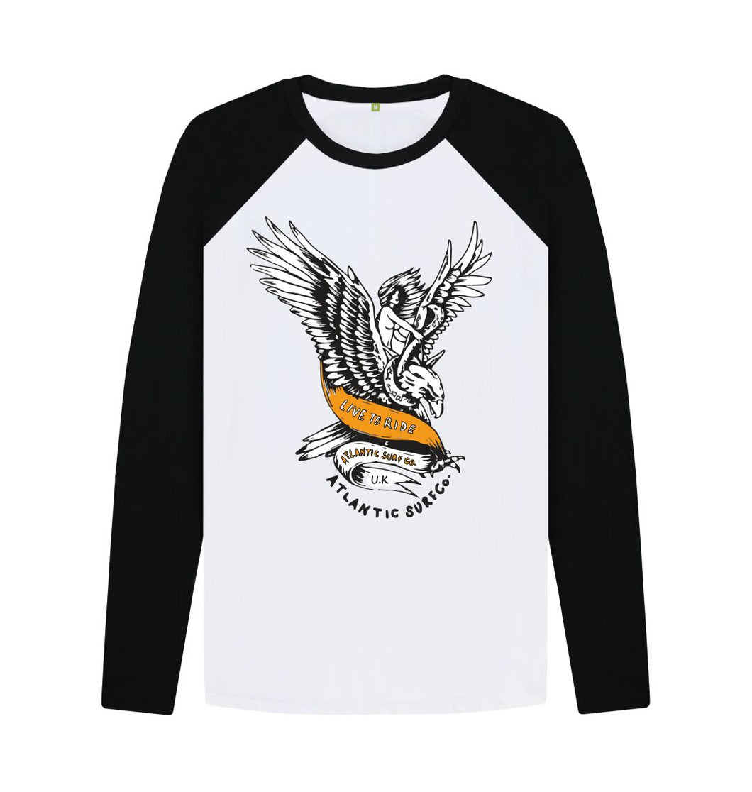 Black-White The Eagle Baseball Tee