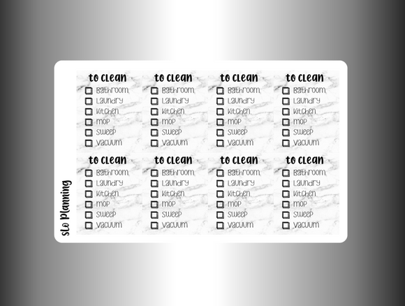 To Clean Checklist (MATTE)