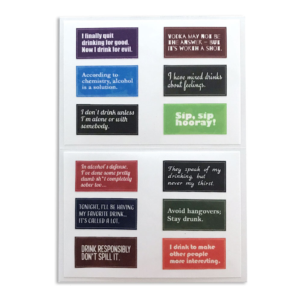 Reusable Alcohol's Defense Drink Labels (Set of 12)