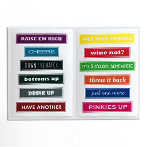 Reusable Cheers Drink Labels (Set of 12)