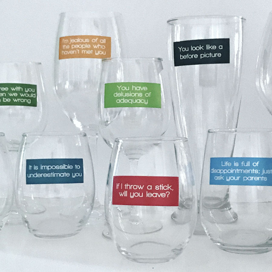 Reusable Insults Drink Labels (Set of 12)
