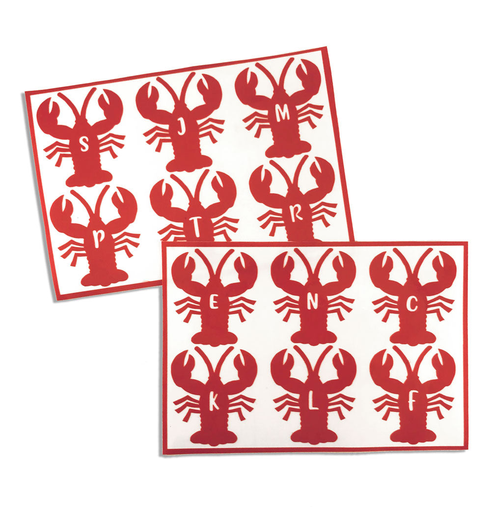 Personalized Initial Lobster Drink Labels (Set of 12)