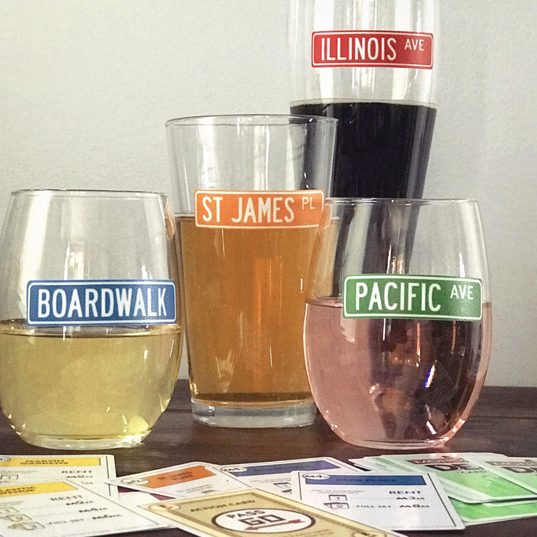 Reusable Game Night Drink Labels (Set of 12)