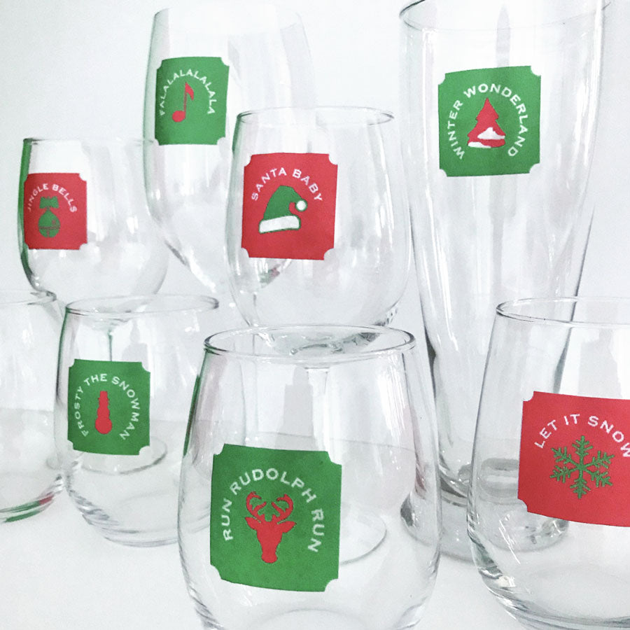 Reusable Holiday Songs Drink Labels (Set of 12)