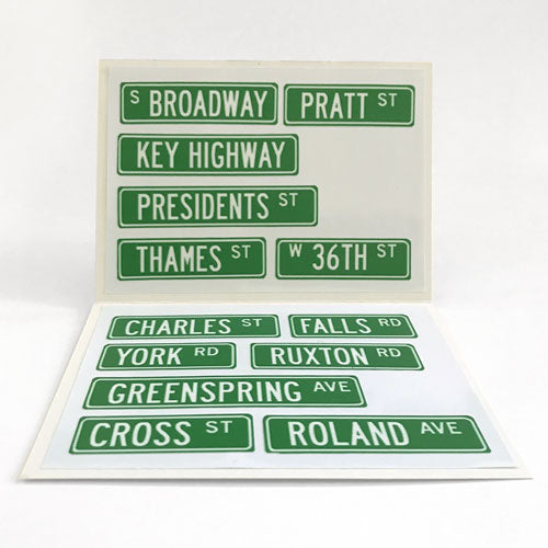 Reusable Baltimore Streets Labels (Set of 12)