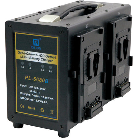 Fxlion 4-Channel V-Mount Battery Charger with DC Output for HD Camera