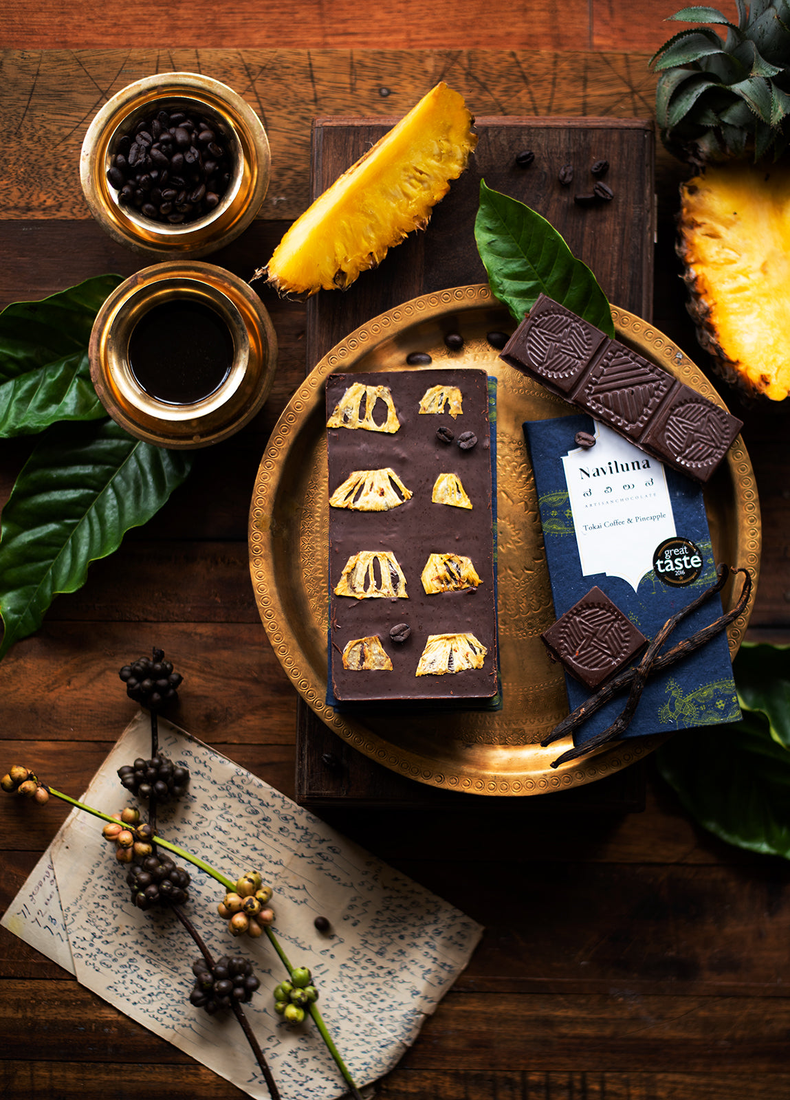 coffee from chikmanglur, pineapples from mysore, and chocolate from kerala, with natural vanilla.