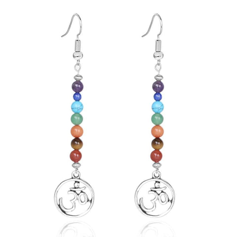 7 Chakra Long Fringed Drop Earrings