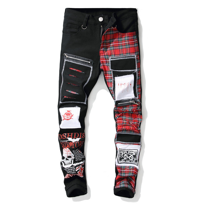Skull Printed Scottish Plaid Patchwork Jeans