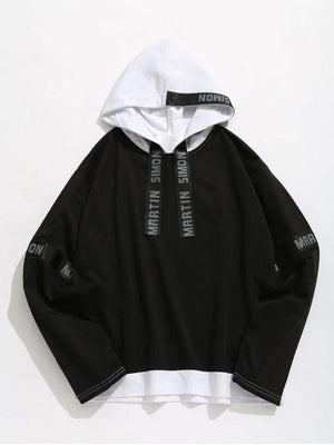 Contrasting Letter Stripes Patch Hoodie