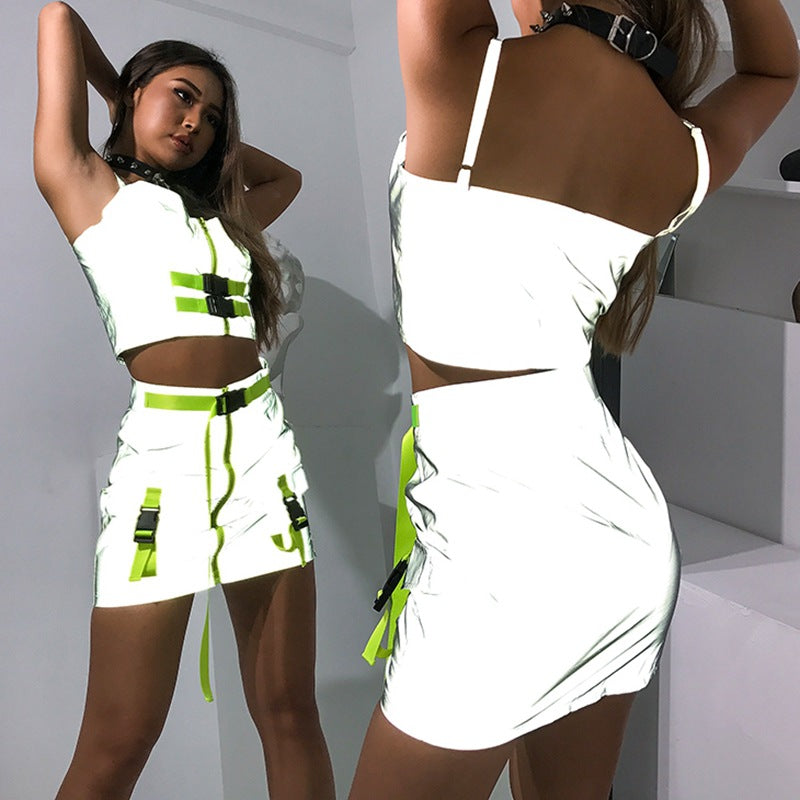 Neon Green Zipper Buckle Belt Reflective  Sexy Two Piece Set