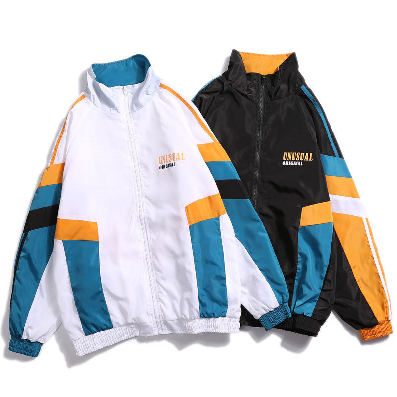 Vintage Color Block Patchwork Printed Track Jacket
