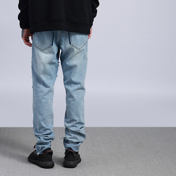 Vintage Patch Stitching Denim Pants
