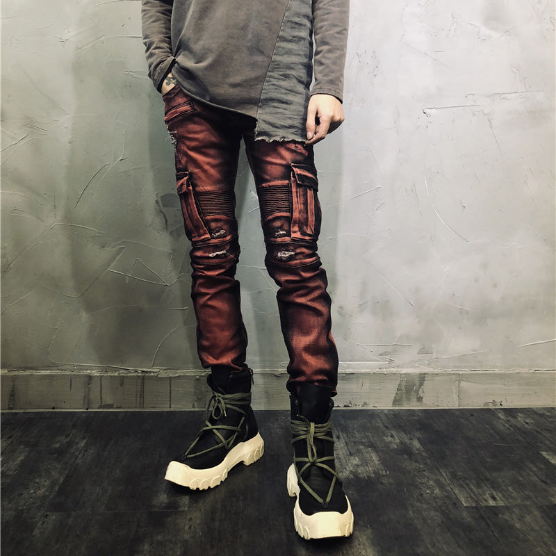Holes Ripped Stretch Denim Pants
