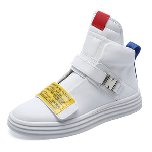 Velcro White Leather Boots