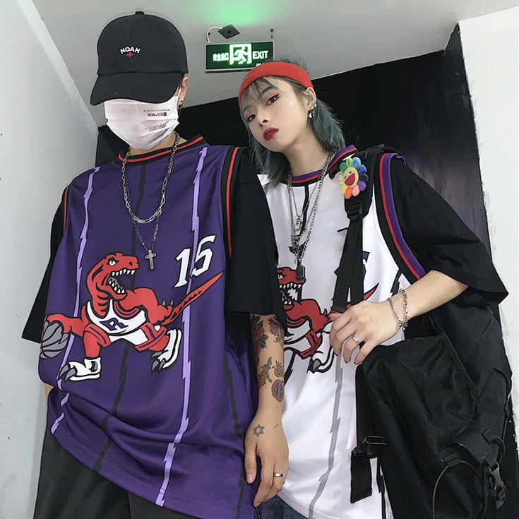 Unisex Fake Two-piece Dinosaur Printed Short-sleeved Hip Hop T-shirt