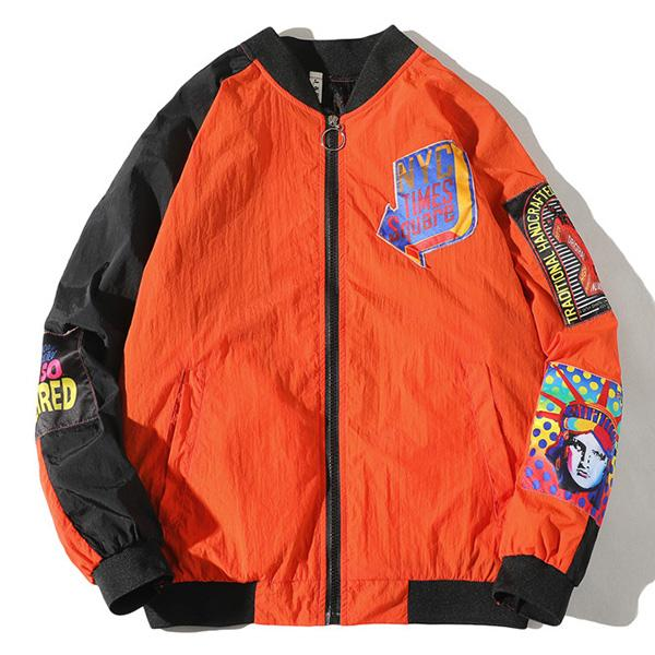 Pattern Stitching Baseball Jacket