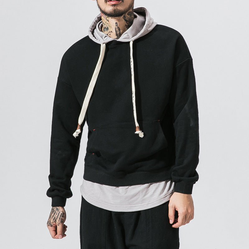 Color-block Fake Two-piece Hip Hop Hoodie