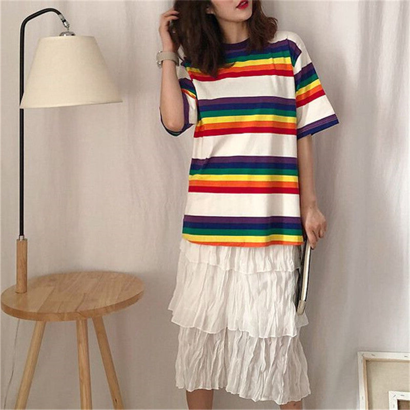 Rainbow Stripe Print T-Shirt Korean Kawaii Round Neck