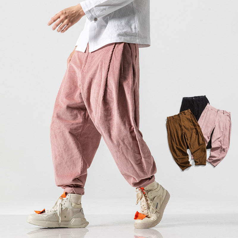 Solid Color Corduroy Loose Pants