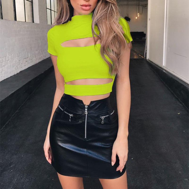 Hollow Out High Neck Short Sleeve Sexy Crop Tops