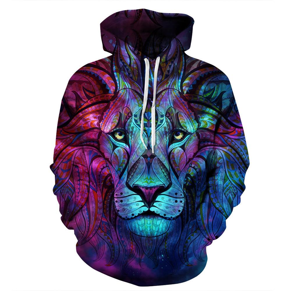 3D printed Blue Lion Hoodie Oversize Pullover