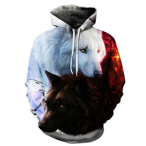 Wolfhdies Black and White Wolf Snuggle Fashion Hooded Sweatshirt