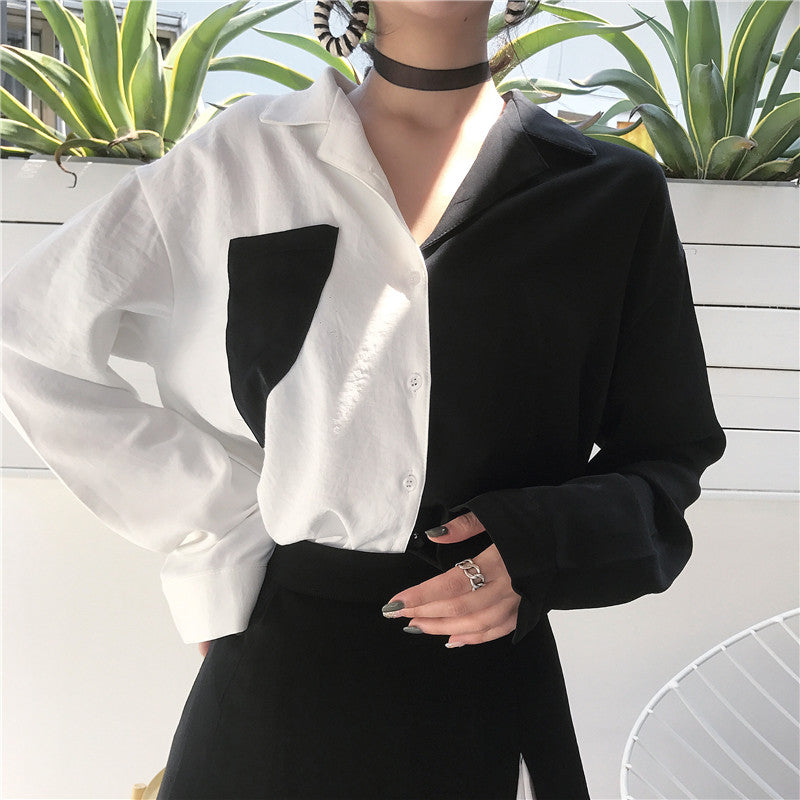 Korean Chic Style Black White Contrast Color Blouse