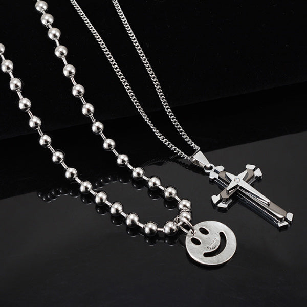 Personality hip hop smiley cross double necklace
