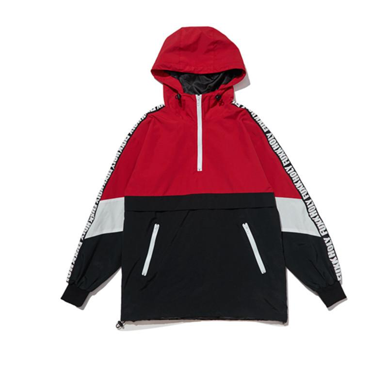 Oversize Hooded Trench Letter Ribbon Spliced Zipper Jacket