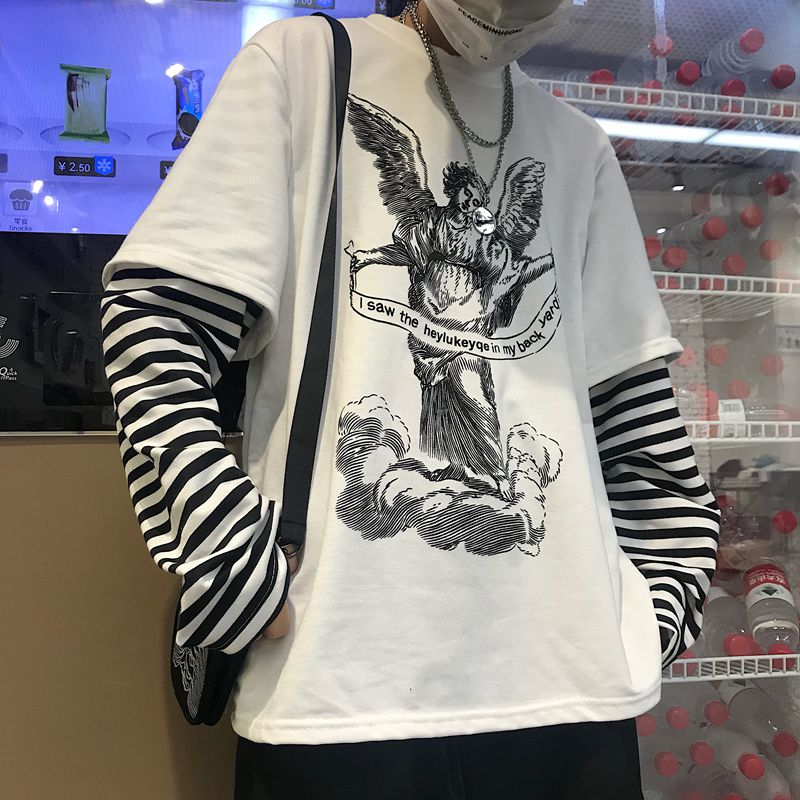 SPF Print Striped Streetwear Fake 2 piece Patchwork Sweatshirt