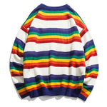 Rainbow Striped Knitted Pullover Sweater