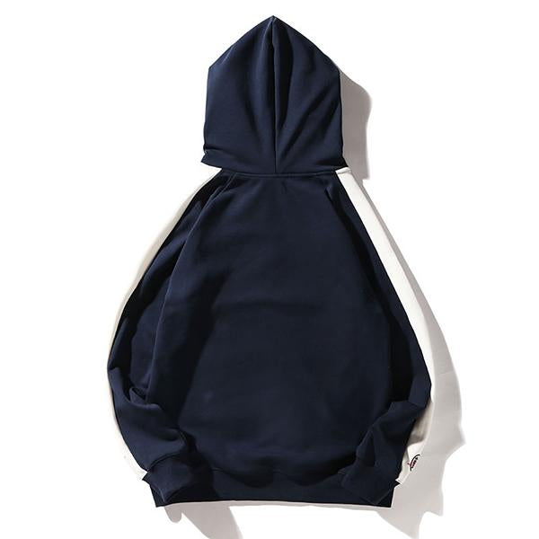Color Block Embroidery Crane Fleece Hoodie