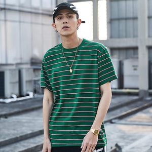 Summer Casual Stripe Short Sleeve Hip Hop Tshirt(4 Colors)
