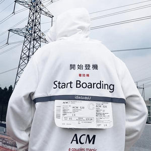 'Start Boarding' Reflective Tape Printed Hoodie(Boarding pass detachable)