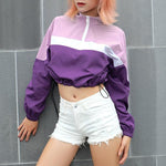 Turtleneck Zipper Purple Long Sleeve Sweatshirt