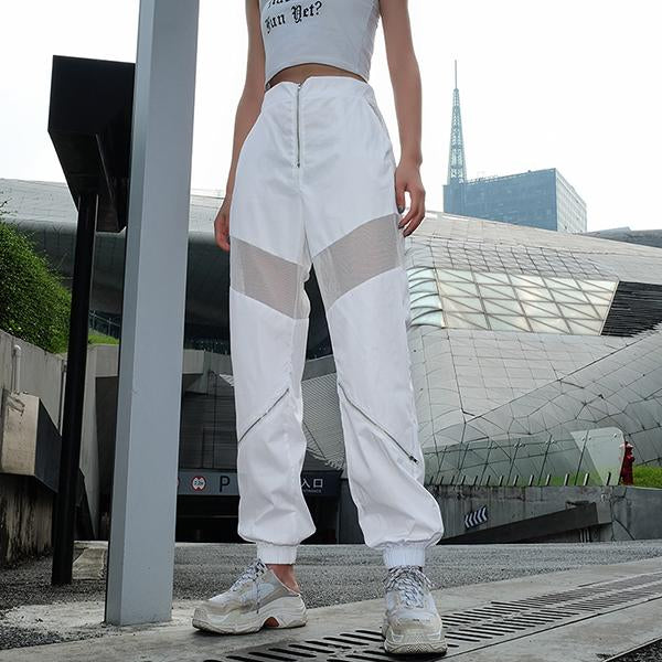 High Waist Hollow Out Patchwork Mesh Trousers
