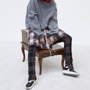 Side Stripe Patchwork Elastic Waist Plaid Pants