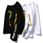 Printing Letter Ribbon Long Sleeve T-Shirt