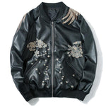 Embroidery Phoenix PU Leather Jackets