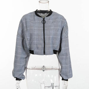 Plaid Zipper Bomber Crop Top Jacket